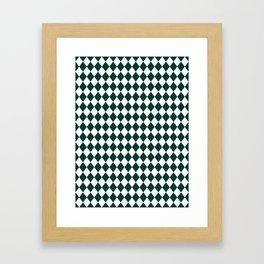 Forest Biome Green Modern Diamond Pattern Framed Art Print