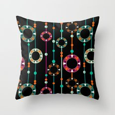Abstract folk african pattern. Multi-colored circles rings. Throw Pillow