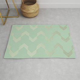 Simply Deconstructed Chevron in White Gold Sands and Pastel Cactus Green Rug