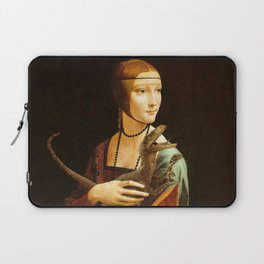 Lady with a Velociraptor Laptop Sleeve