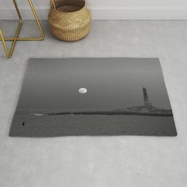 Black and white Moon over Thacher Island Rug