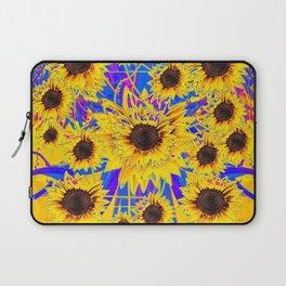 SURREAL FUCHSIA BLUEW SUNFLOWERS  MODERN ART Laptop Sleeve