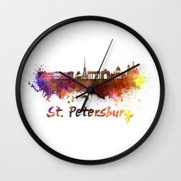 Saint Petersburg skyline in watercolor Wall Clock