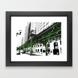 Chicago photography - Chicago EL art print in green black and white Framed Art Print