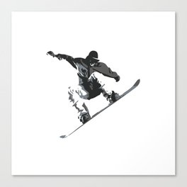 Snowboard Jumping Cartoon Canvas Print