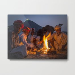 Indian camel traders sitting around the campfire at the Pushkar camel fair | India travel photography Metal Print