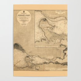 Map Of Burrard Inlet 1891 Poster