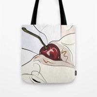 cherry Tote Bags featuring cherry by SEVENTRAPS