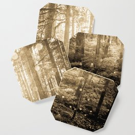 Vintage Sepia Fairy Forest Coaster