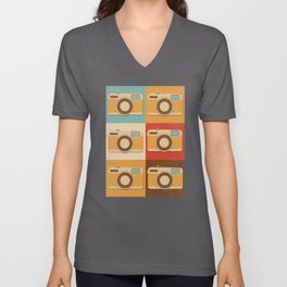 Retro Vintage Camera Gift Pop Art Photography Gift Unisex V-Neck