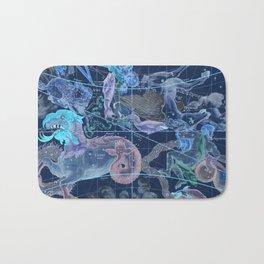 Star Atlas Vintage Constellation Map Blue Ignace Gaston Pardies Bath Mat