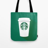 starbucks Tote Bags featuring starbucks  by Daryl Beaney