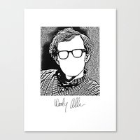woody allen Canvas Prints featuring Woody Allen by totemxtotem