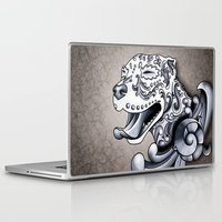 pit bull Laptop & iPad Skins featuring Ornamental Pit Bull by Pretty In Ink