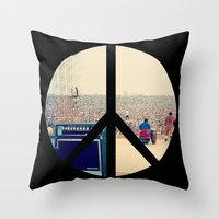 woodstock Throw Pillows featuring Woodstock 69 by Silvio Ledbetter