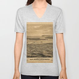 Vintage Bird's Eye Map Illustration - San Diego,  (1876) Unisex V-Neck