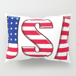United States Font with American Flag Pillow Sham