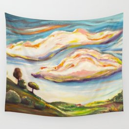 Color clouds in the valey Wall Tapestry
