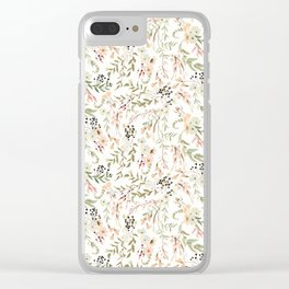 Dainty Intricate Pastel Floral Pattern Clear iPhone Case