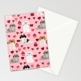 Pekingese valentines day dog breed cupcakes love hearts pet pattern gifts Stationery Cards