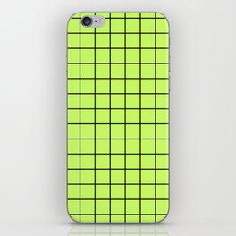 Lime Green with Black Grid iPhone Skin
