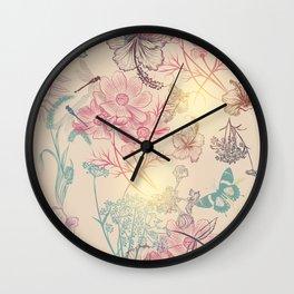 Vintage garden or field. Fantasy floral illustration Wall Clock