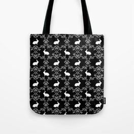 Rabbit pet silhouette floral rabbits bunny gifts cute minimal pets black and white Tote Bag