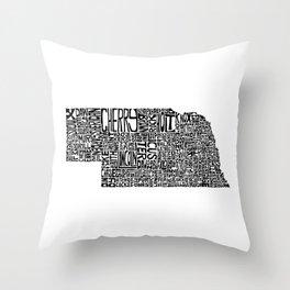 Typographic Nebraska Throw Pillow