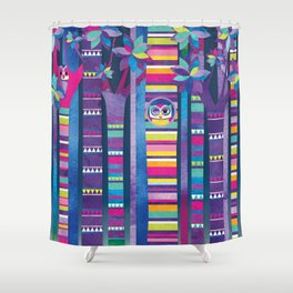 Shanti Sparrow: Hide and Seek Owls Shower Curtain