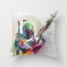 Boba Fett Bounty Hunter Watercolor Throw Pillow