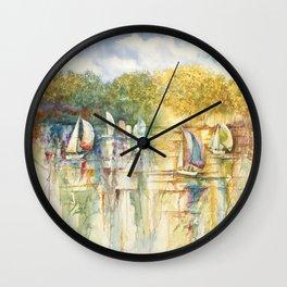 Summer Sailboats Drifting By Wall Clock