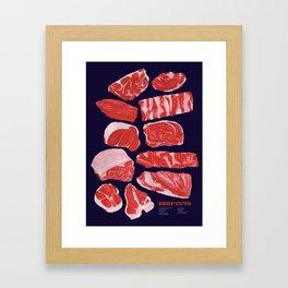 Beef Cuts (Dark Blue) Framed Art Print