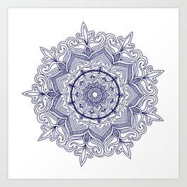 Blue Flower Mandala Art Print