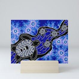 Authentic Aboriginal Art - Baby Sea Turtles Mini Art Print