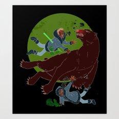 Polar Bear VS Zombie Art Print