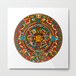 Aztec Mythology Calendar Metal Print