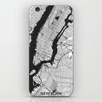 new york map iPhone & iPod Skins featuring New York Map Gray by City Art Posters