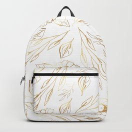 Hand drawn white gold foliage floral illustration Backpack