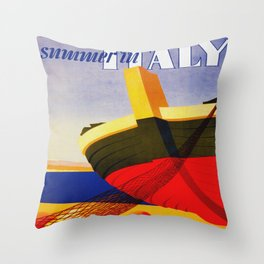 Summer in Italy - Vintage Travel Throw Pillow