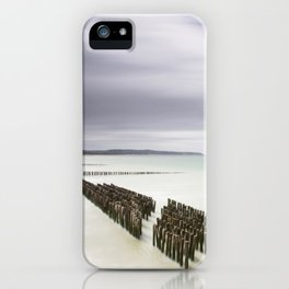 Breakwaters in North Wales | Fine art photography print. Calm soft tone colors iPhone Case