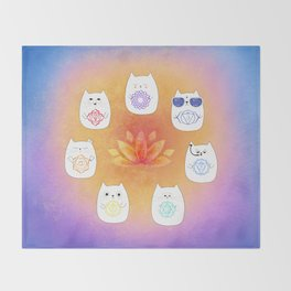 Chakra cats Throw Blanket