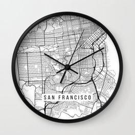 San Francisco Map, California USA - Black & White Portrait Wall Clock