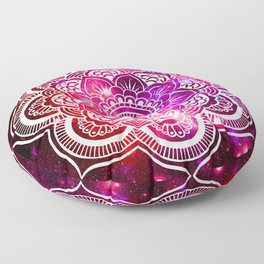 Galaxy Mandala Red Fuchsia Purple Pink Floor Pillow