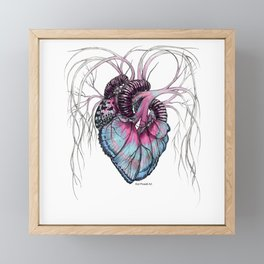 Butterfly Heart Blue Framed Mini Art Print