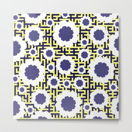 Floral maze in yellow and blue Metal Print