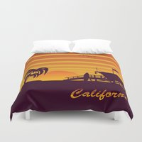 surfing Duvet Covers featuring California surfing by mangulica