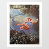 thundercats Art Prints featuring Thunder Swing by Hillary White