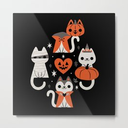 Halloween Kitties (Black) Metal Print