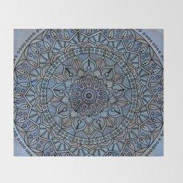 Circle of Life Mandala full color on blue swirl Throw Blanket