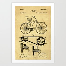 Bicyole Support Patent Drawing From 1890 Art Print